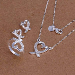 Winona Silver Plated Necklace, Ring and Earrings Set