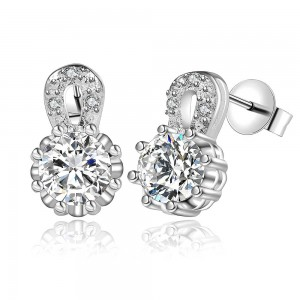 Crystalline 925 Silver Plated Earrings
