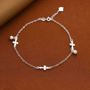 Agnes Cross 925 Silver Anklet by Argento