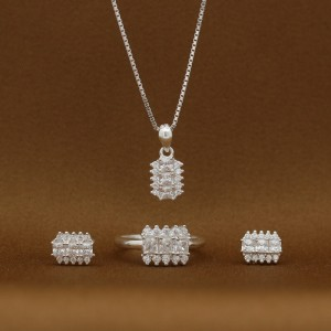 Antoinette 925 Silver Necklace, Earrings and Ring Set (Clearance Sale SRP 1,399 )