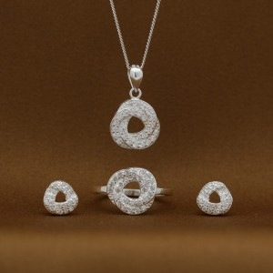 Aurora 925 Silver Earrings, Necklace and Ring Set (Clearance Sale SRP1,999)