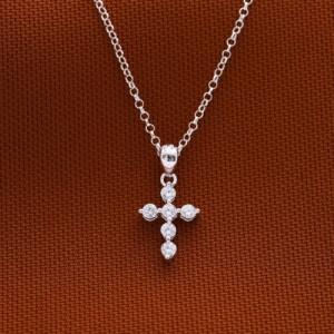 Crystalline Cross 925 Silver Necklace