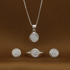 Gabrielle 925 Silver Earrings, Necklace and Ring Set Size 4.5 (Clearance Sale SRP1,699)