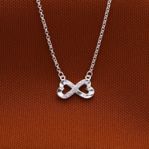 Infinity Heart C 925 Silver Necklace 16