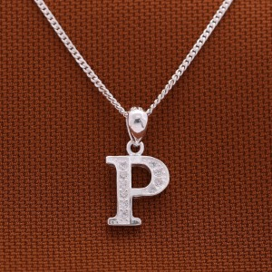 Letter P with Stones 925 Silver Necklace 18