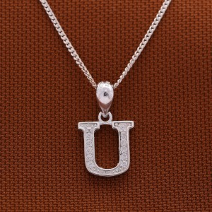 Letter U with Stones 925 Silver Necklace 18