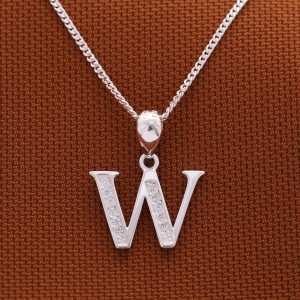 Letter W with Stones 925 Silver Necklace 18