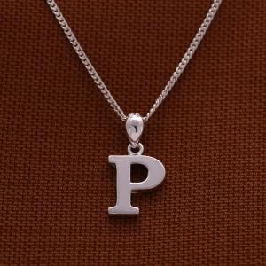 Letter P (Plain) 925 Silver Pendant with 16