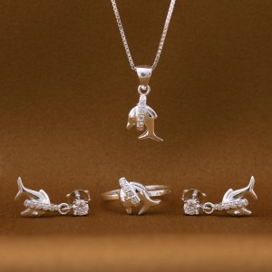 Marina Dolphin 925 Silver Earrings, Necklace and Ring Set (Clearance Sale SRP1,599)