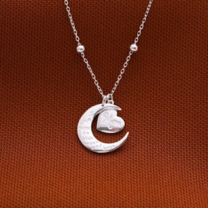Moon Heart Design Necklace by Argento 925 Silver