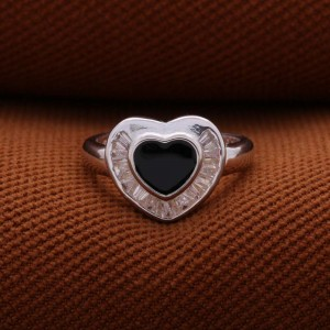 Pegasus Black Heart 925 Silver Ring