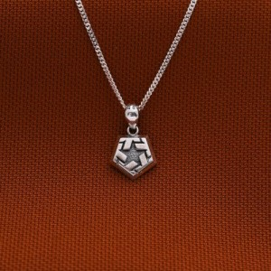 Pentagon Silver Necklace 16 inches