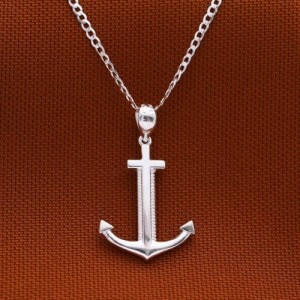 Roger Anchor 925 Silver Necklace 22 inches