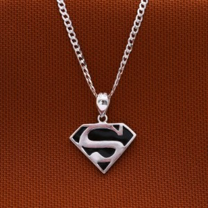 925 Sterling Silver Superman Necklace Medium 22 Inches