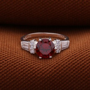 Tirzah 925 Silver Ring with Red stone
