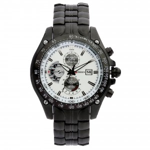 Victor Sports Black Stainless Steel Watch (White Face) by Curren