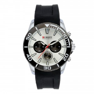 Zachary Silicone with Stainless Steel Case Watch by Curren White Face