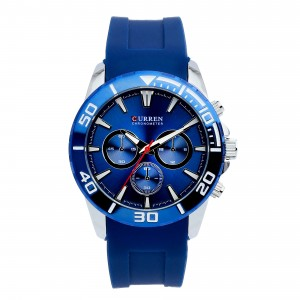 Zachary Silicone with Stainless Steel Case Watch by Curren (Blue Case with Blue Face)