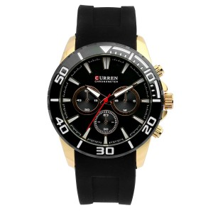 Zachary Silicone with Stainless Steel Case Watch by Curren Black Face (with Bronze Face)