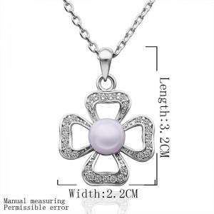 Azaleah Pearl Flower White Gold Necklace