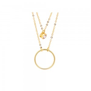 Brea 18k Gold Plated Double Layer Necklace