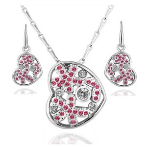 Britney Pink Heart Silver Plated Set