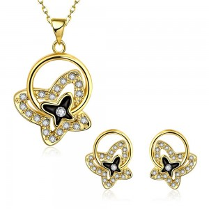 Carly 18k Gold Plated Butterfly Necklace and Earrings