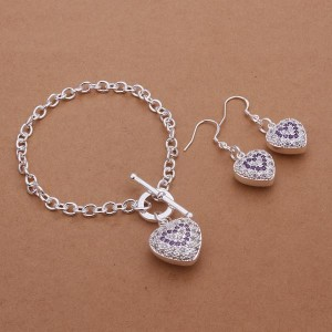 Celeste Heart Earrings and Bracelet 925 Silver Plated Set