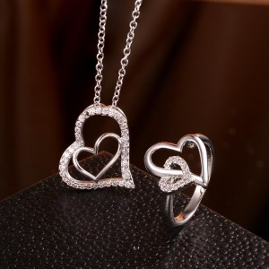 Charity Heart White Gold Plated Set