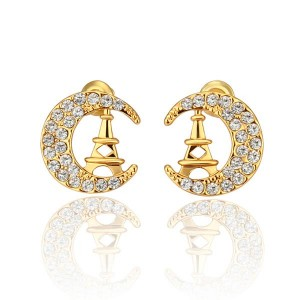 Crescent Moon 18K Gold Plated Earrings