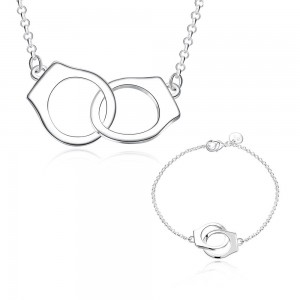 Cuff Link Silver Plated Bracelet and Necklace Set