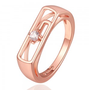 Cynthia 18k Rose Gold Plated Diamond Couple Ring
