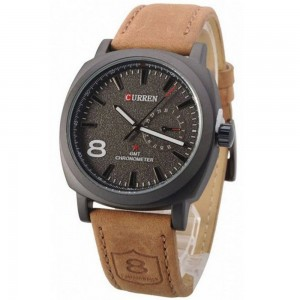 Douglas Brown Leather Watch Black Face by Curren