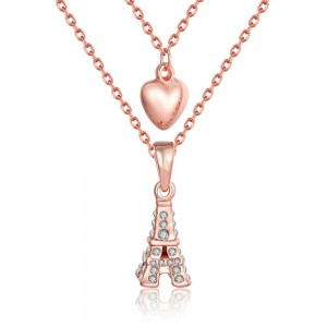 Eiffel Tower with Heart Necklace