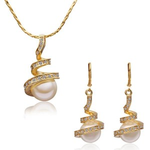 Ferlie 18k Gold Plated Pearl Necklace and Earrings Set
