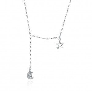 Jandi Moon and Star  925 Sterling Silver  Necklace