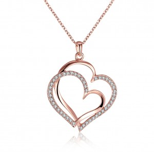 Jessica Big Double Heart Rose Gold Plated Necklace