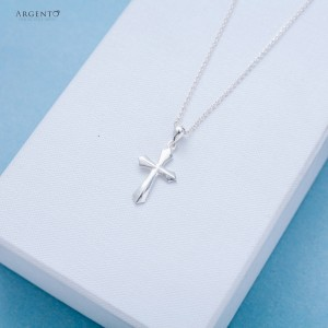 Jonah Plain Cross 925 Silver Necklace 18