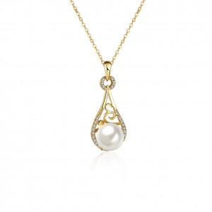 Karissa Pearl 18K Gold Plated Necklace by Elite