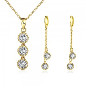 Karina Stone 18k Gold Plated Necklace and Earrings Set