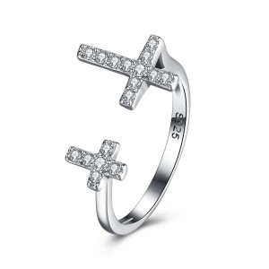 Karmen Cross Adjustable 925 Sterling Silver Ring