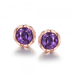 Korina Rose Gold Plated Earrings (Violet Stone)