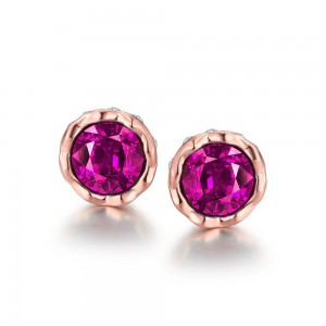 Korina Rose Gold Plated Earrings (Pink Stone)