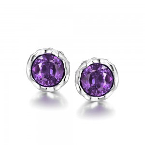 Korina White Gold Plated Earrings (Violet Stone)
