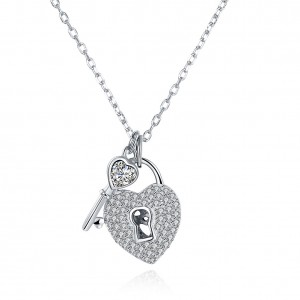 Lanie Key and Heart Padlock 925 Sterling Silver Necklace