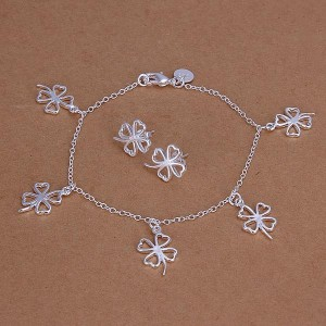 Lizzie Bracelet and Earrings Silver Plated Set