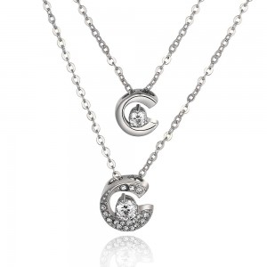 18k White Gold Plated Moondance Necklace
