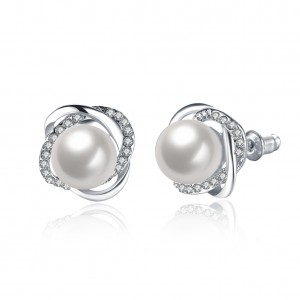 Nancy Pearl White Gold Plated Earrings