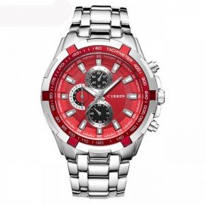 Newton Stainless Steel Watch (SIlver with Red Face) by Curren 40mm