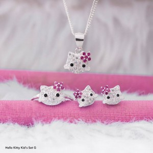 Hello Kitty Kids Set G with Pink Stone 925 Silver